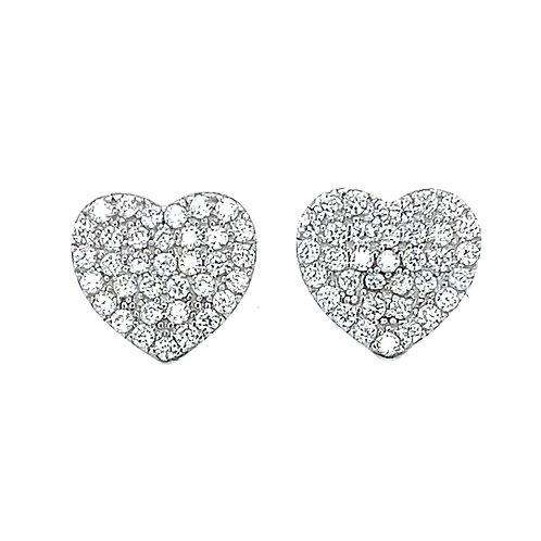 Sterling Silver Cubic Zirconia Pave Heart Earrings 131357