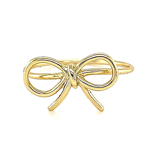 Gold Plated Sterling Silver Bow Ring 124193