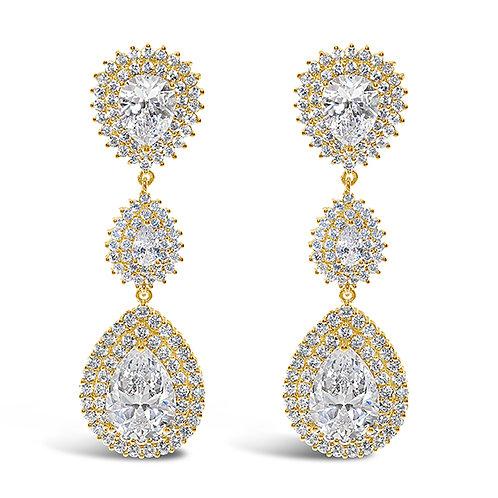 Bridal  Gold Cubic Zirconia Tear Drop Earrings 131644-10124421
