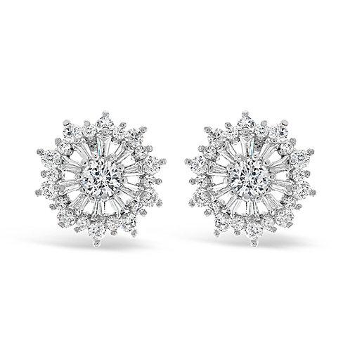 Bridal Cubic Zirconia Round Stud Earrings 129630