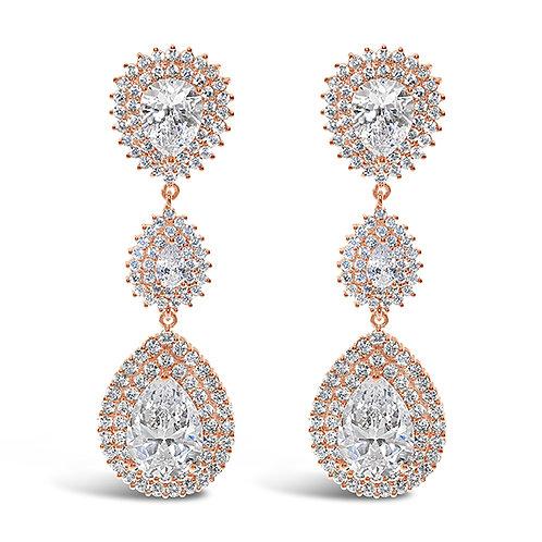 Bridal Cubic Zirconia Rose Gold  Tear Drop Earrings 131644-10124420