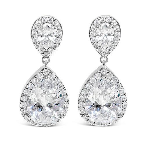 Bridal Silver Cubic Zirconia Tear Drop Earrings 126632