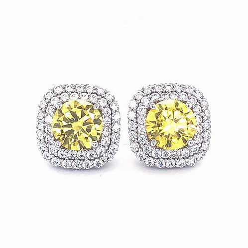 Sterling Silver Cubic Zirconia Square Studs 141392
