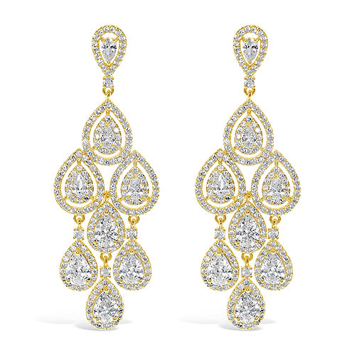 Bridal Gold Cubic Zirconia Chandelier Earrings 131645-10124424