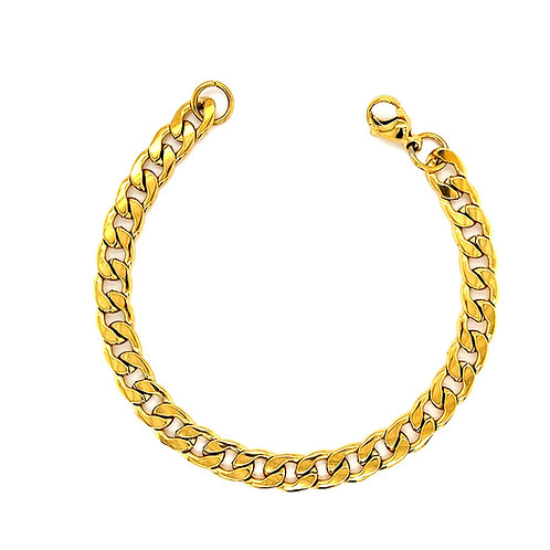 Men's Gold Stainless Steel Curb 6mm Bracelet 142926