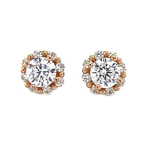 Rose Gold Plate Sterling Silver Cubic Zirconia Round Earrings 126060