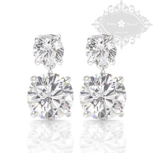 Bitter Sweet Sterling Silver Cubic Zirconia Earrings 121514
