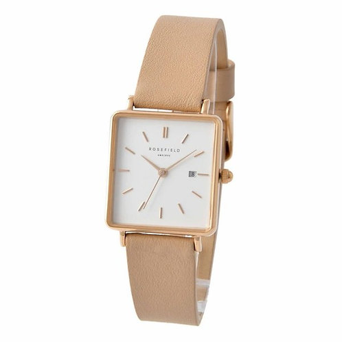 Rosefield QWPR-Q11 Ladies White Dial Beige Leather Strap 132934