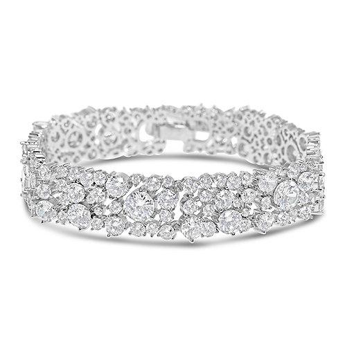 Bridal SilverCubic Zirconia Round Bracelet 131632