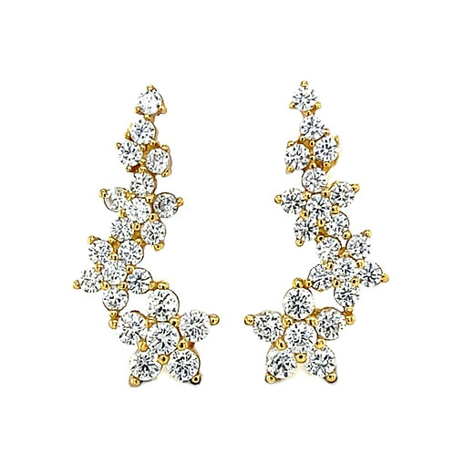 Yellow Gold Plated Sterling Silver Cubic Zirconia Flower Crawler Earrings 133044