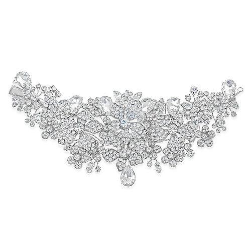 Bridal Silver Flower Hair Clip 120642