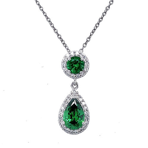 Sterling Silver Cubic Zirconia Tear Green Color Necklace 115597