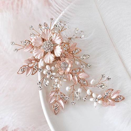 Bridal Rose Gold Flower Hair Clip 137612