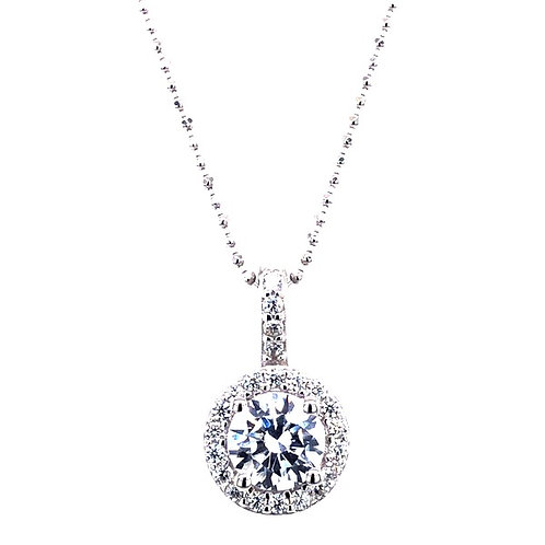 Sterling Silver Cubic Zirconia Round Necklace 132362