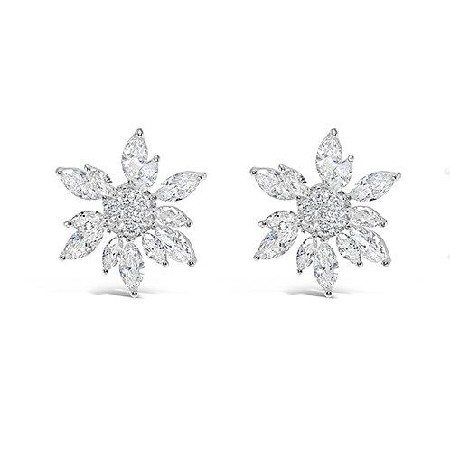 Bridal Silver Cubic Zirconia Stud Earrings 128591