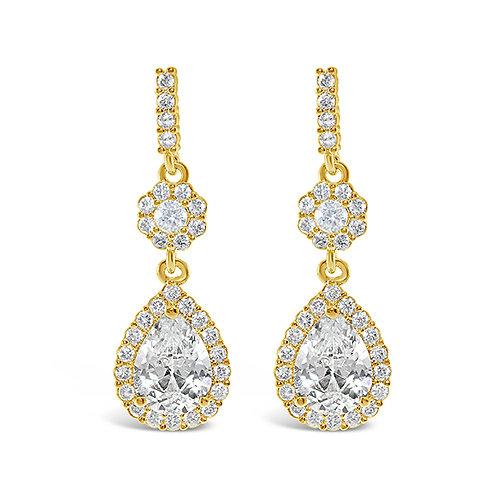 Gold Cubic Zirconia Tear Drop Earrings 131643-10124417