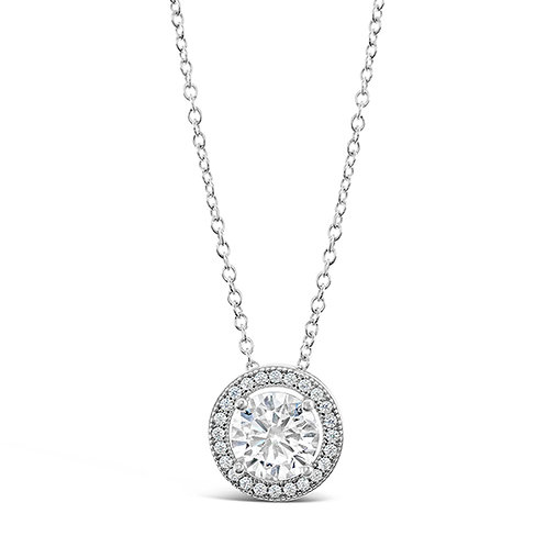 Sterling Silver Micro Pave Cubic Zirconia Necklace 131920-103740