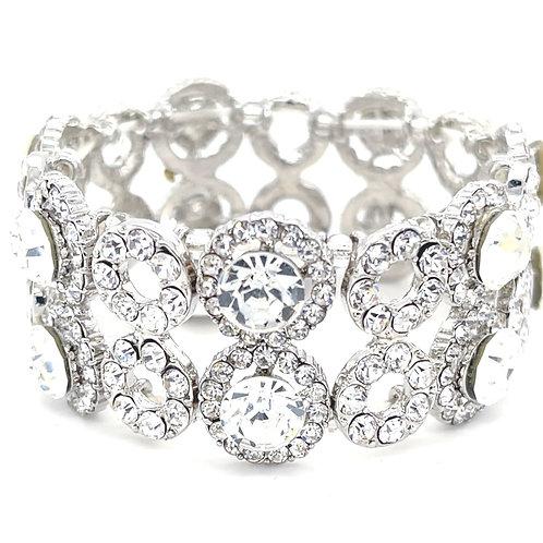 Fashion Silver Crystal Elastic Round Bracelet 125115