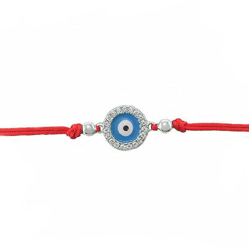 Sterling Silver Cubic Zirconia Evil Eye Rope Bracelet 143370