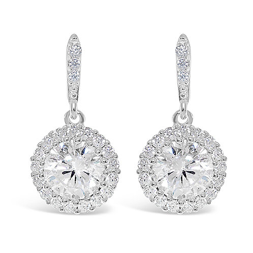 Bitter Sweet Sterling Silver Cubic Zirconia Round Earrings 122010