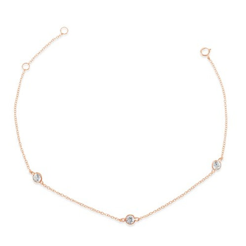Rosegold Plated Sterling Silver Cubic Zirconia Bezel Anklet 143320