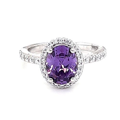 Sterling Silver Purple Cubic Zirconia Oval Ring 132225