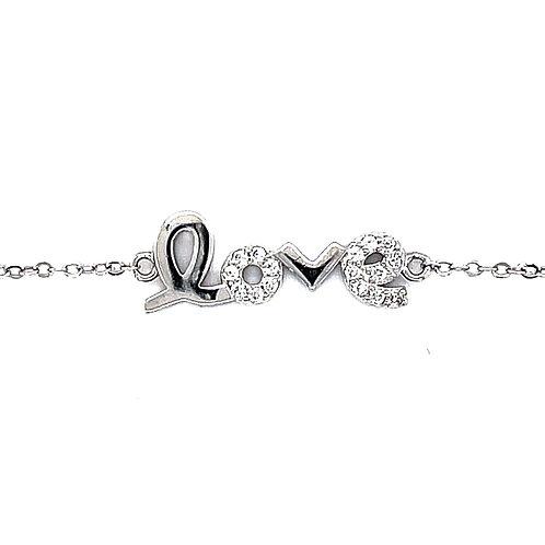 Sterling Silver Cubic Zirconia Love Bracelet 133263