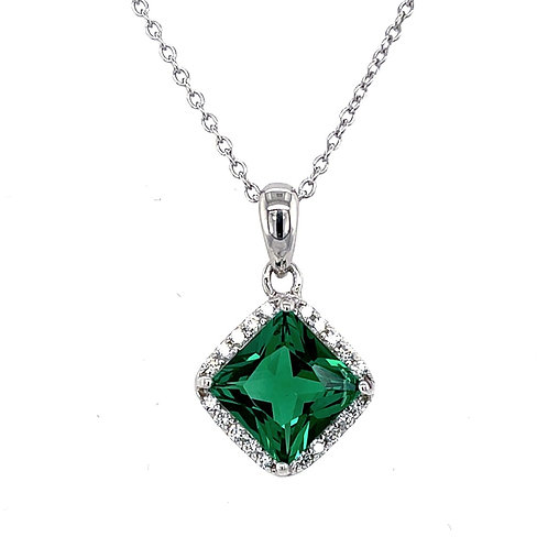Sterling Silver Cubic Zirconia Square Green Color Necklace 118309