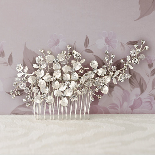 Bridal Silver Flower Hair Comb 125943