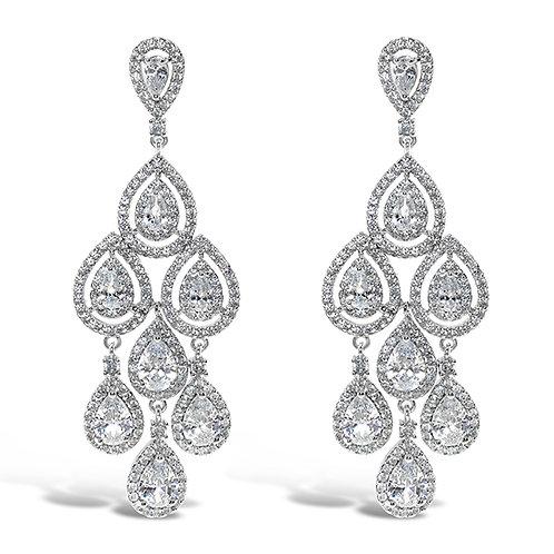 Bridal Silver Cubic Zirconia Chandelier Earrings 131645-10124422