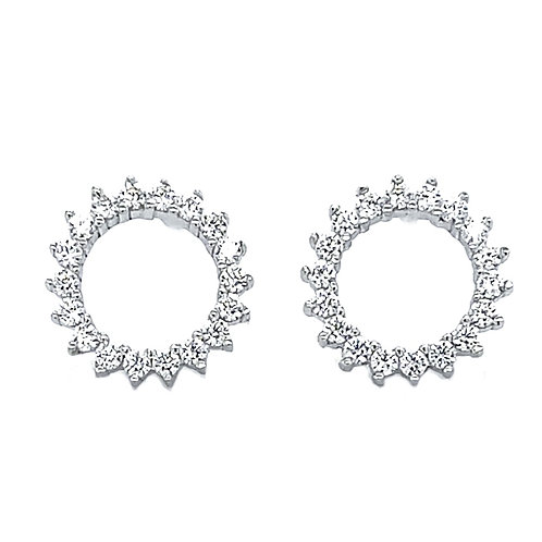 Sterling Silver Cubic Zirconia Circle Stud Earrings 132861
