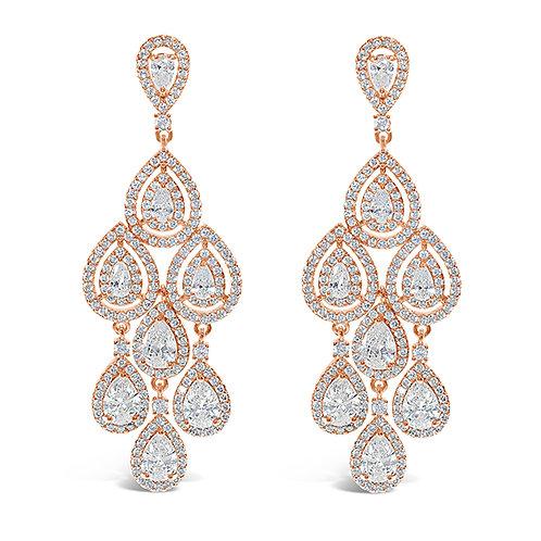 Bridal Rose Gold Cubic Zirconia Chandelier Earrings 131645-10124423