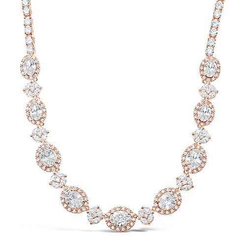 Cubic Zirconia Necklace & Earrings Set 131636
