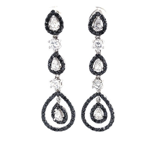 Sterling Silver Cubic Zirconia Clear and Black Earrings 151000