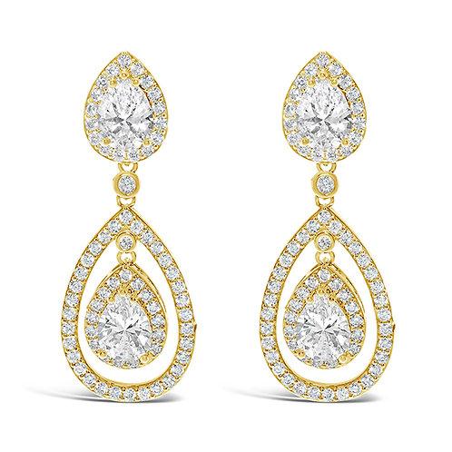 Gold Cubic Zirconia Tear Drop Halo Earrings 131642-10124414