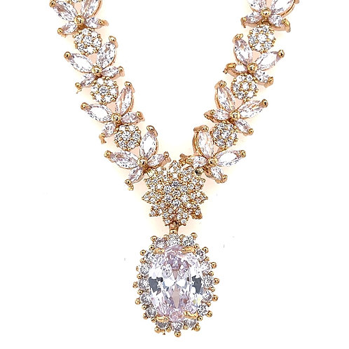 Fashion Cubic Zirconia Necklace & Earrings Set 154321