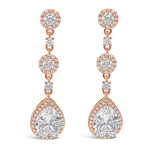 Bitter Sweet Rose Gold Plated Sterling Silver Cubic Zirconia Earrings 131467