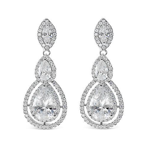 Bridal Silver Cubic Zirconia Tear Drop Earrings 127606