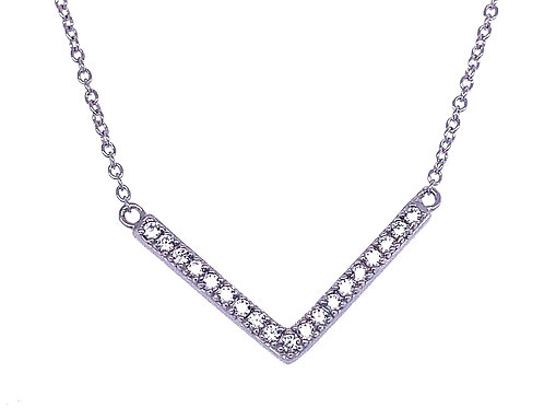 Sterling Silver Cubic Zirconia V Bar Necklace 133000