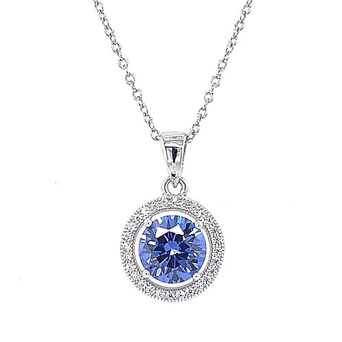 Sterling Silver Cubic Zirconia Round Blue Necklace 141718