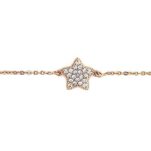 Rose Gold Plated Sterling Silver Cubic Zirconia Star Bracelet 141839