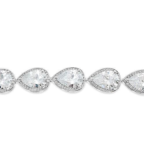 Bridal Silver Cubic ZirconiaTear Drop Halo Bracelet 128587