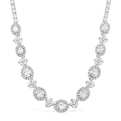 Cubic Zirconia Necklace & Earrings Set 131636