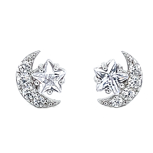 Sterling Silver Cubic Zirconia Star Moon Stud Earrings 141761