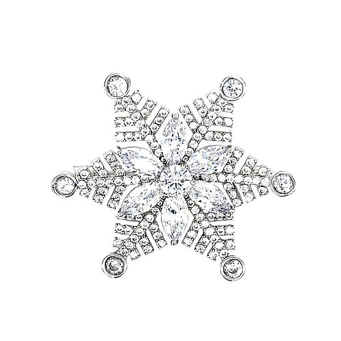 Fashion Silver Cubic Zirconia Snowflake Brooch 141626