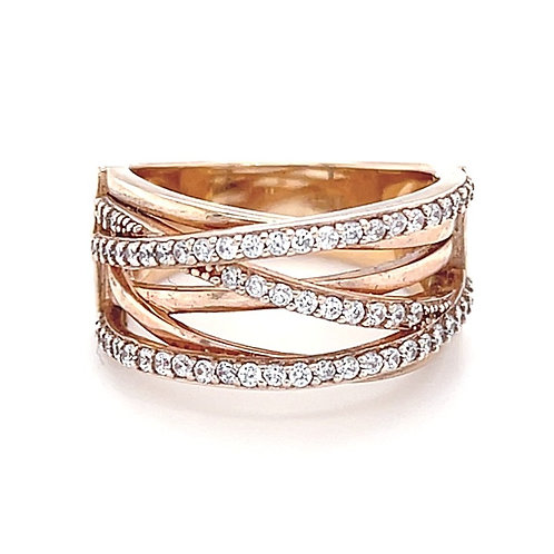 Rose Gold Plated Sterling Silver Cubic Zirconia Ring 126037