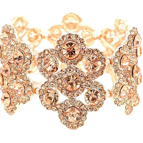 Fashion Rose Gold Crystal Elastic Bracelet 125116