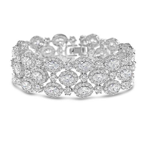 Bridal Silver Cubic Zirconia Oval Bracelet 131633