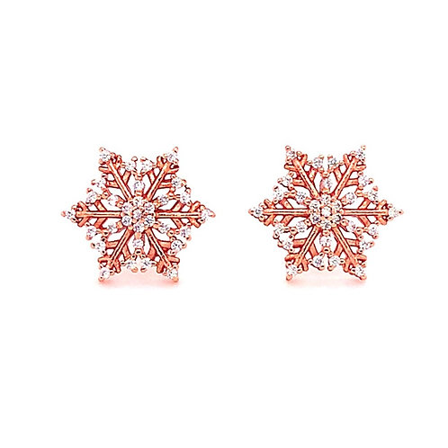 Rose Gold Plated Sterling Silver Cubic Zirconia Snowflake Earrings 141742