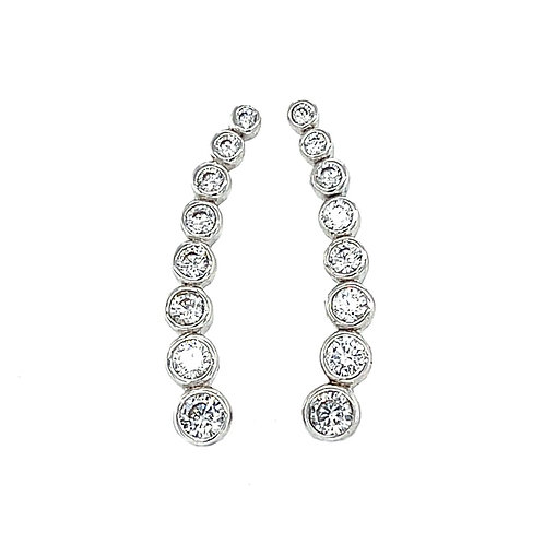 Sterling Silver Cubic Zirconia Crawler Earrings 141039